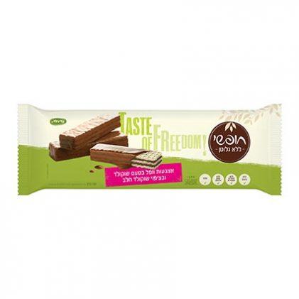 אצבעות ופל ללא גלוטן בטעם שוקולד בציפוי שוקולד חלב 125 גר'
