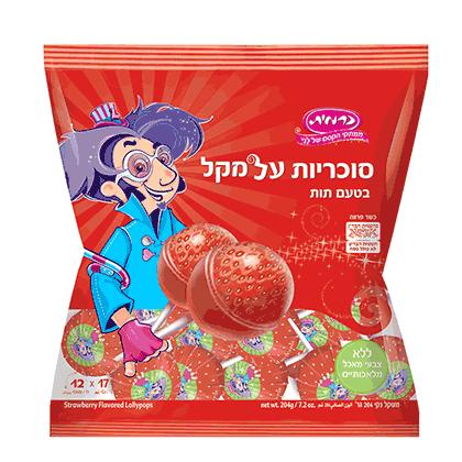 סוכריות על מקל בטעם תות 12 יח'