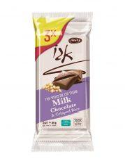 שלישיית טבלאות שוקולד חלב ופצפוצי אורז